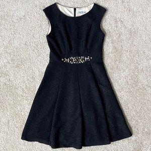 Eliza J Black Glitter Fit & Flare Cocktail Dress